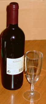 wine bottle 75 cl and glass 15 cl